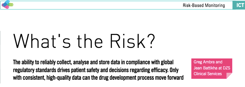 What's The Risk? New article about tCSM by DZS to appear in International Clinical Trials journal